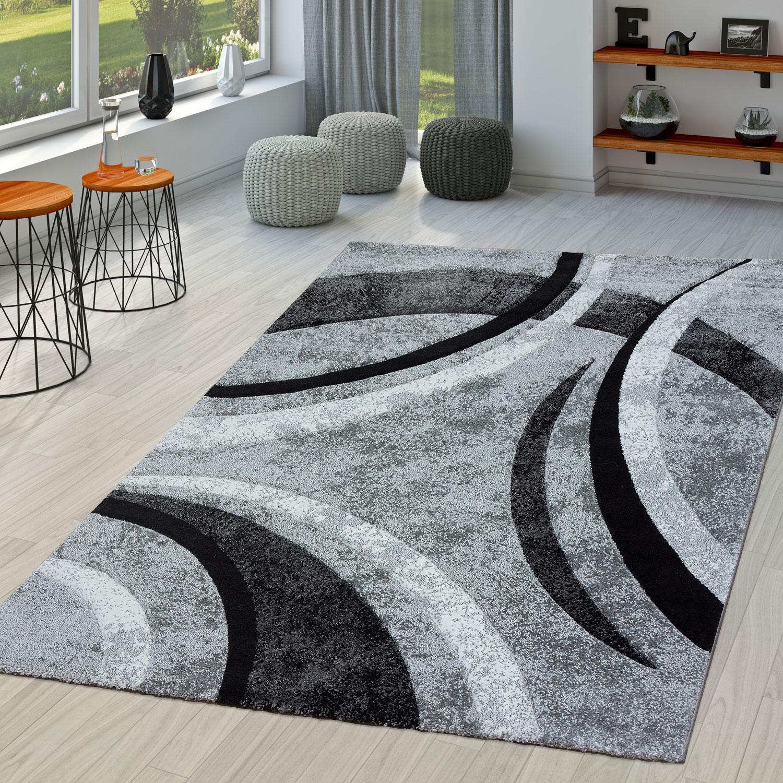 teppich wohnzimmer gestreift modern mit konturenschnitt in grau schwarz meliert moderne teppiche. Black Bedroom Furniture Sets. Home Design Ideas