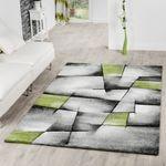 Teppich Grau Grün Wohnzimmer Teppiche Madeira Konturenschnitt Optik AUSVERKAUF 001
