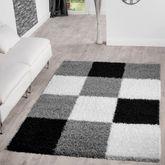 Moderner Hochflor Teppich Karo Muster Shaggy Zottel Teppiche Grau Schwarz Creme – Bild 1