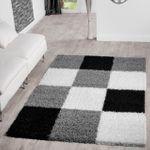 Moderner Hochflor Teppich Karo Muster Shaggy Zottel Teppiche Grau Schwarz Creme
