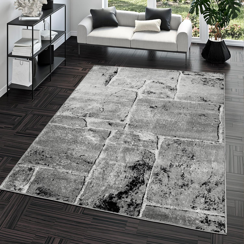 Hochwertig Teppich Steinboden Marmor Optik Design Modern Wohnzimmerteppich Grau Top  Preis