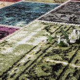 Designer Teppich Bunt Patchwork Multicolour Gelb Rot Fuchsia Creme  – Bild 3