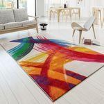 Designer Teppich Bunt Kunststück Picasso Brush-Optik Modern Multi Creme Gelb Rot  001