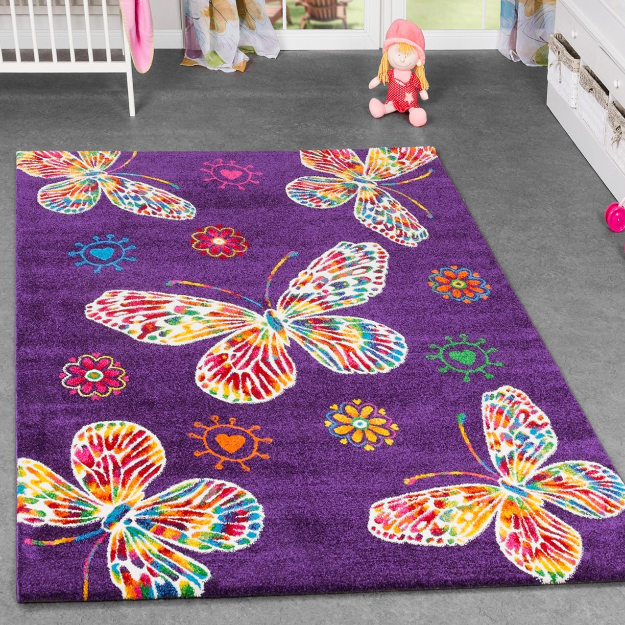Details zu Kinderteppich Schmetterling Design Kinderzimmer Spielzimmer  Multicolour In Lila