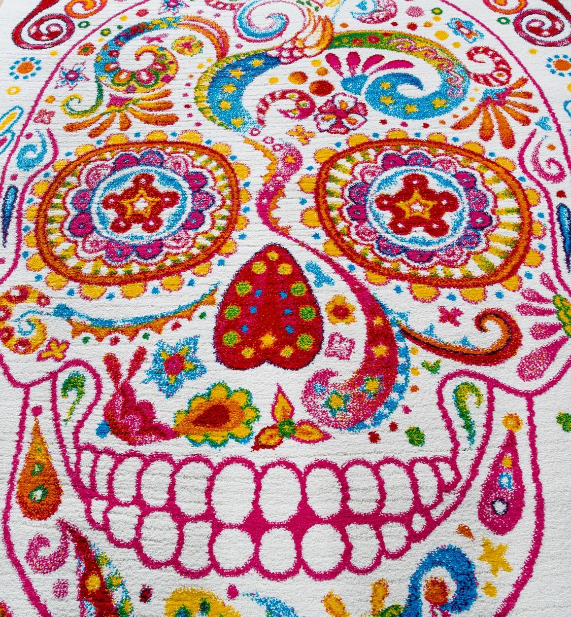 Teppich Modern Designer Teppich Bunt Totenkopf Skelett Design Multicolour  Creme U2013 Bild 2