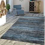 Designer Teppich Blau Modern Kurzflor Multicolor 001