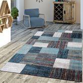 Designer Teppich Blau Meliert Kurzflor Modern Kurzflor – Bild 1