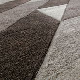 Designer Teppich Diagonal Querstreifen Kurzflor Modern Braun Konturenschnitt  – Bild 2