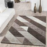 Designer Teppich Diagonal Querstreifen Kurzflor Modern Braun Konturenschnitt  – Bild 1