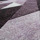 Designer Teppich Diagonal Querstreifen Kurzflor Modern Lila Konturenschnitt – Bild 2