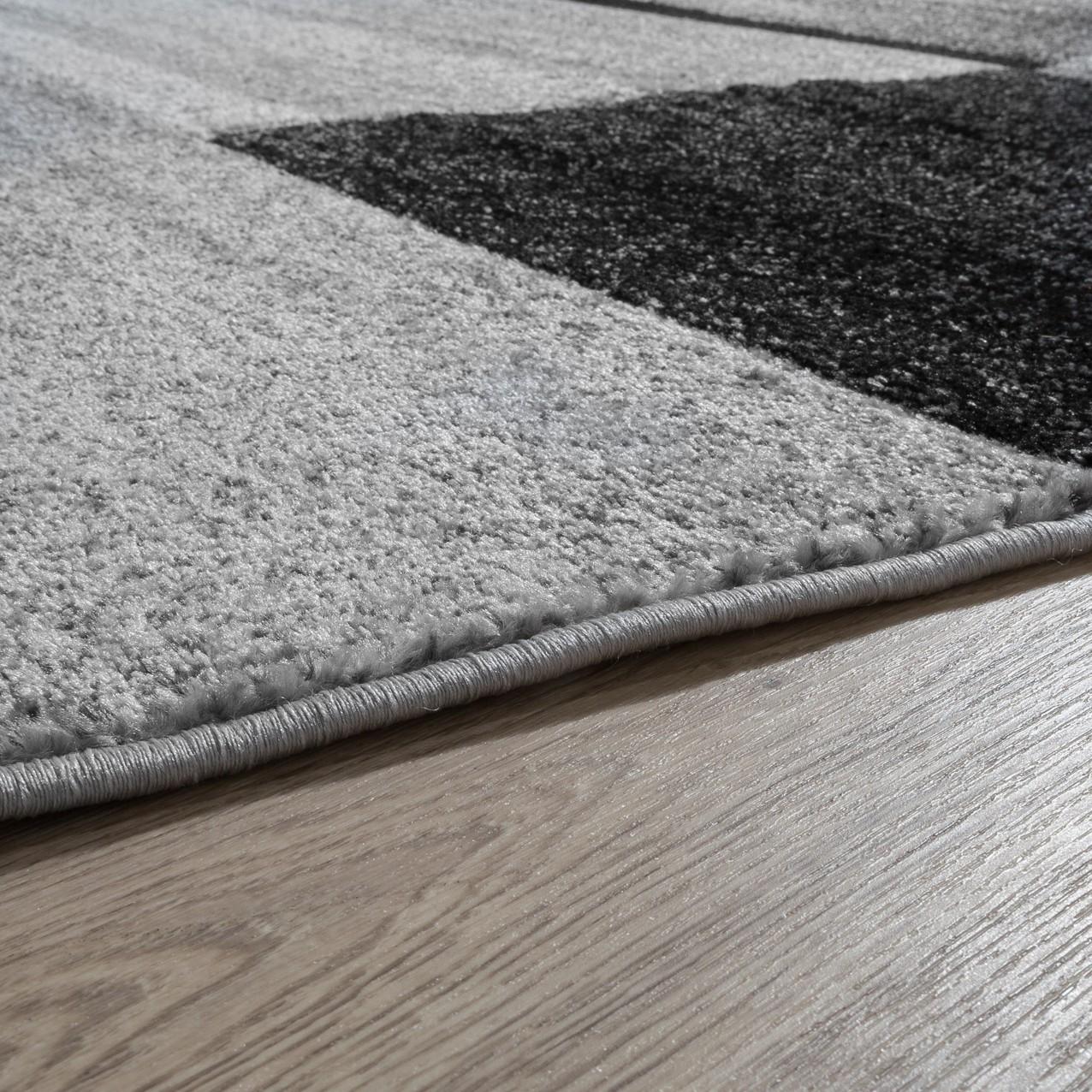 Designer teppich kariert kurzflor modern grau - Teppich modern grau ...