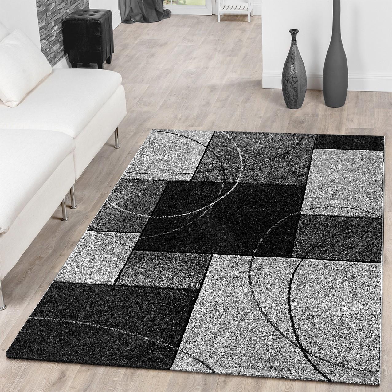 Designer Teppich Kariert Kurzflor Grau Konturenschnitt Kreisförmig Meliert