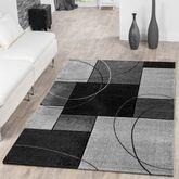 Designer Teppich Kariert Kurzflor Grau Konturenschnitt Kreisförmig Meliert – Bild 1