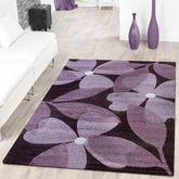 Designer Teppich Floral Kurzflor Modern Lila Konturenschnitt – Bild 1