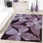Designer Teppich Floral Kurzflor Modern Lila Konturenschnitt 001