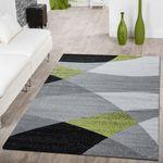 Designer Teppich Grün Meliert Kurzflor Modern Geschwungen Optik Hochwertig