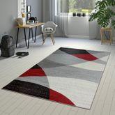 Designer Teppich Rot Meliert Kurzflor Modern Geschwungen Optik Hochwertig – Bild 1