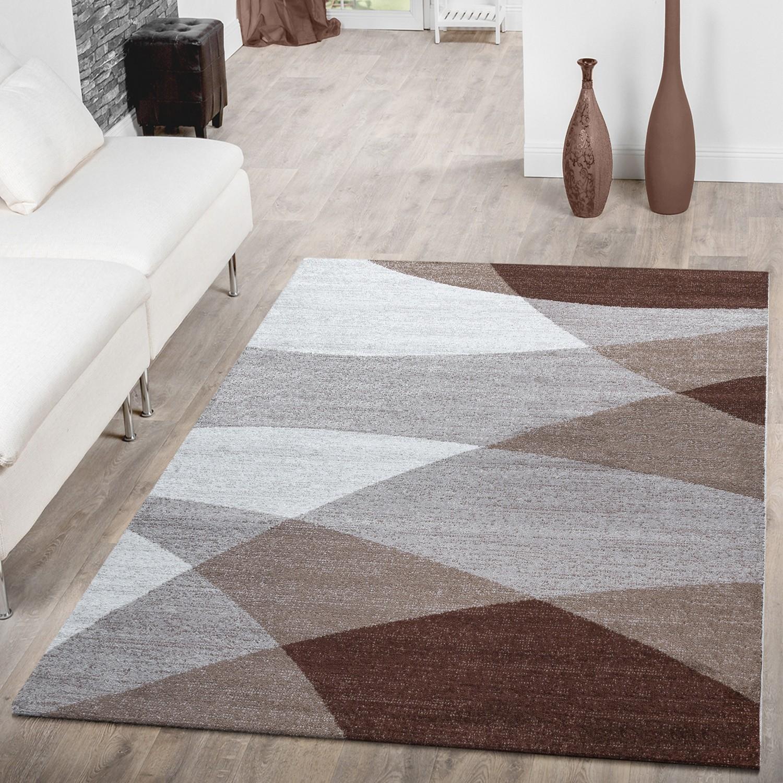Designer Teppich Braun Meliert Kurzflor Modern Geschwungen Optik Hochwertig