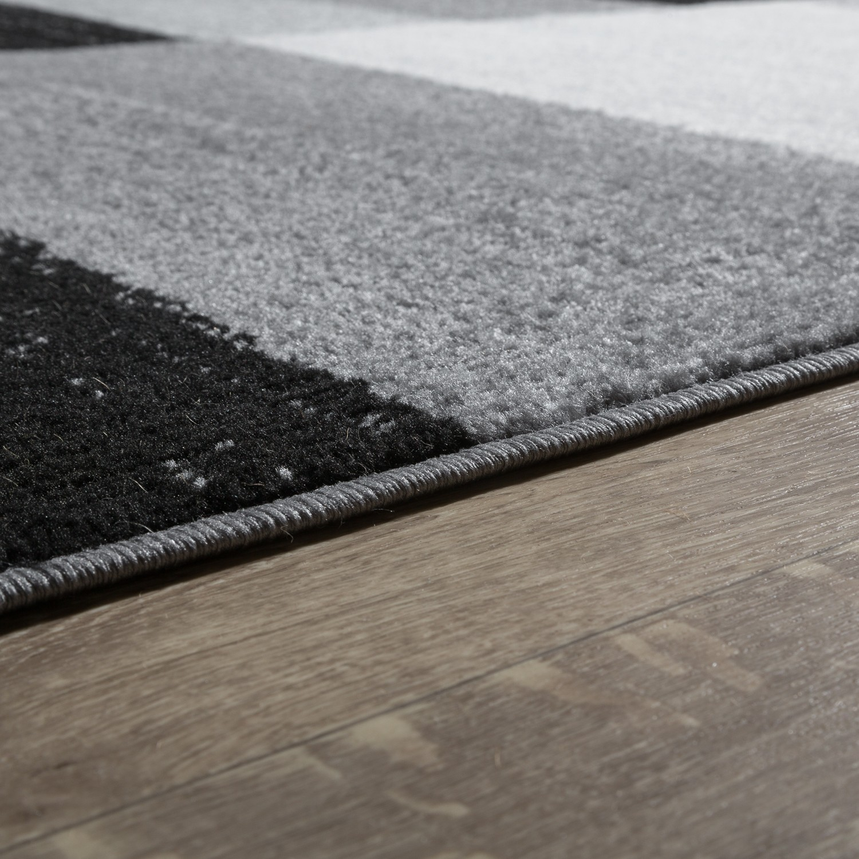 designer teppich grau meliert kurzflor modern kariert optik hochwertig moderne teppiche. Black Bedroom Furniture Sets. Home Design Ideas