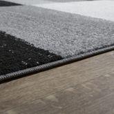 Designer Teppich Grau Meliert Kurzflor Modern Kariert Optik Hochwertig – Bild 3