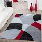 Designer Teppich Rot Meliert Kurzflor Modern Abstrakt Halbkreis Optik Hochwertig – Bild 1