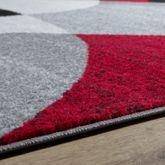 Designer Teppich Rot Meliert Kurzflor Modern Abstrakt Halbkreis Optik Hochwertig – Bild 3