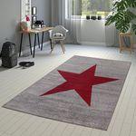 Designer Teppich Rot Meliert Kurzflor Modern In Stern Optik Hochwertig Robust