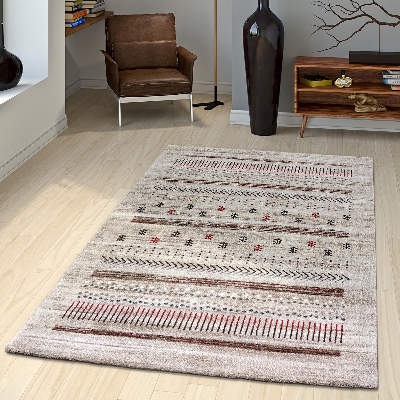 Teppich Loribaft Nomaden Gabbeh Teppich mit Klassischen Motiven in Beige Creme