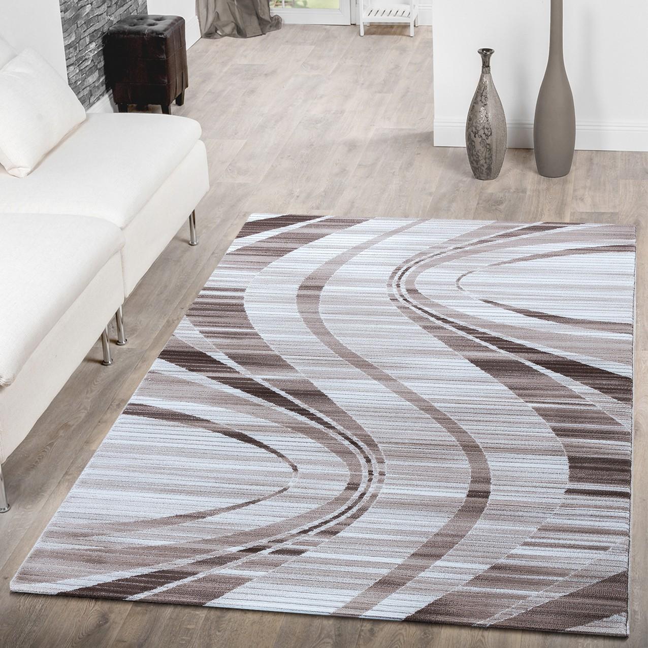 Teppich Wellen Muster Beige Creme