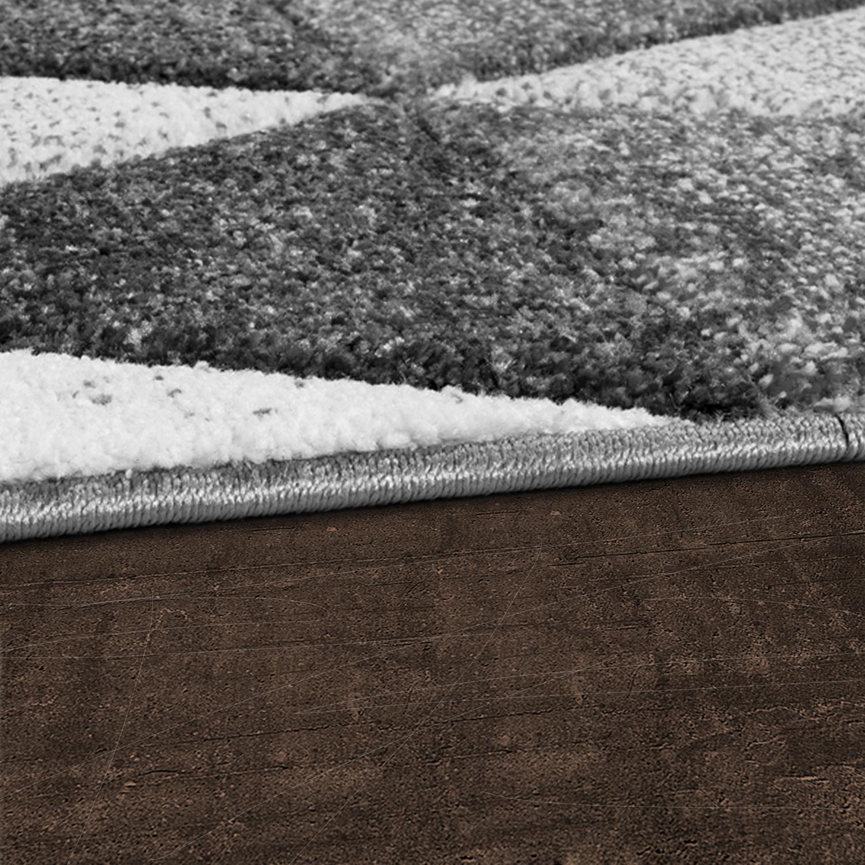 moderner teppich wohnzimmer geometrische muster konturenschnitt grau anthrazit moderne teppiche. Black Bedroom Furniture Sets. Home Design Ideas
