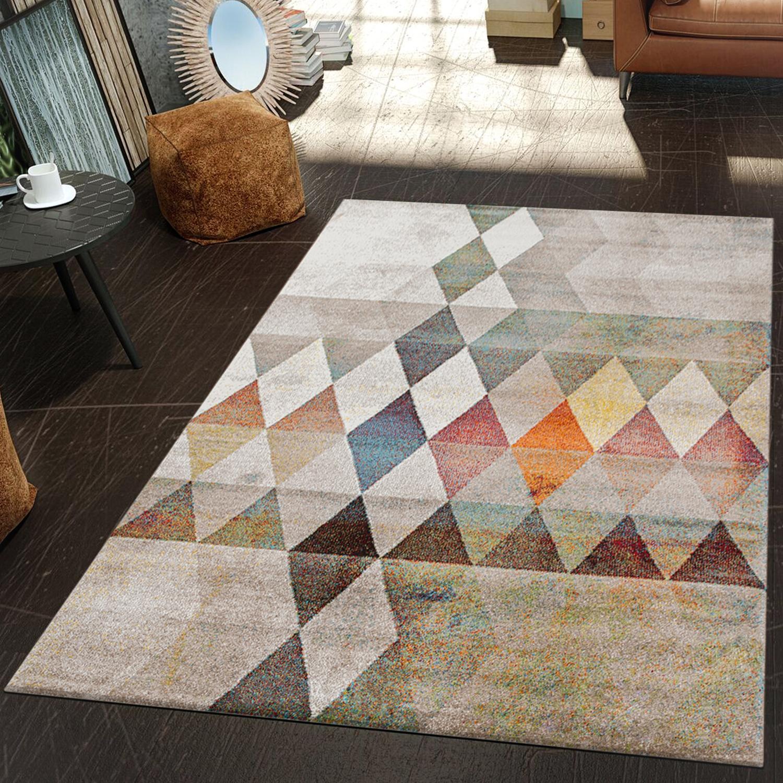 moderner teppich wohnzimmer geometrische muster konturenschnitt beige mehrfarbig moderne teppiche. Black Bedroom Furniture Sets. Home Design Ideas