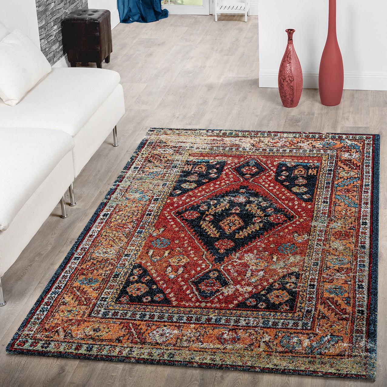 teppich modern wohnzimmer teppich orientalische muster schwarz rot mehrfarbig moderne teppiche. Black Bedroom Furniture Sets. Home Design Ideas