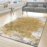 Designer Teppich Wohnzimmer Kurzflor Teppich Florale Ornamente Grau Gold Gelb – Bild 1