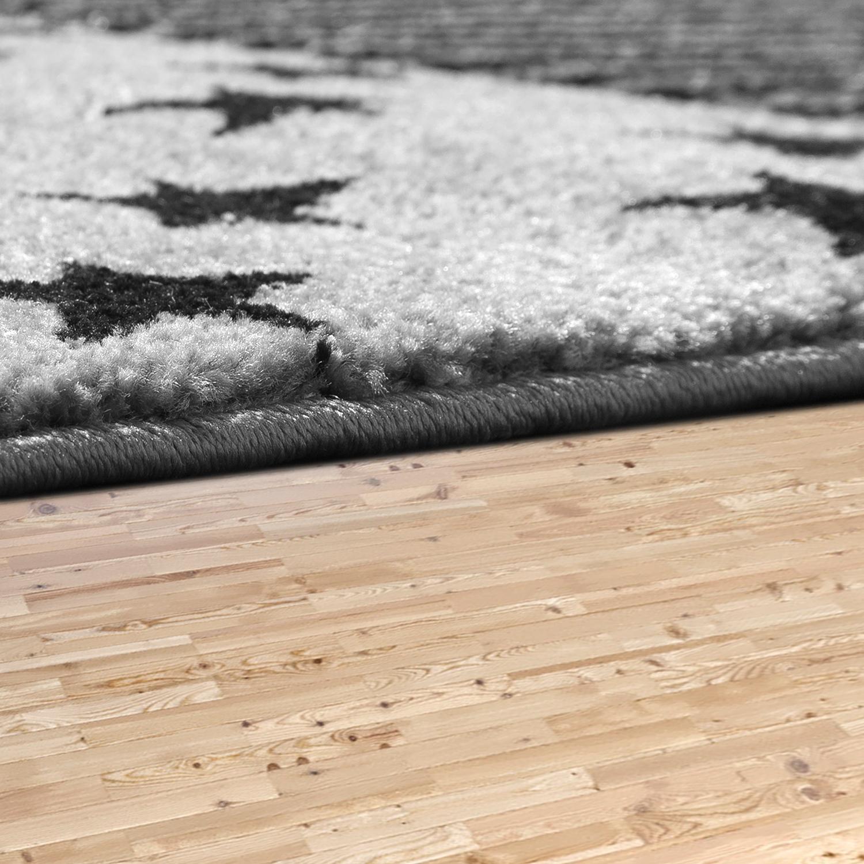 kinder teppich modern sterne kariert teenager kinderzimmer teppiche star in grau ebay. Black Bedroom Furniture Sets. Home Design Ideas