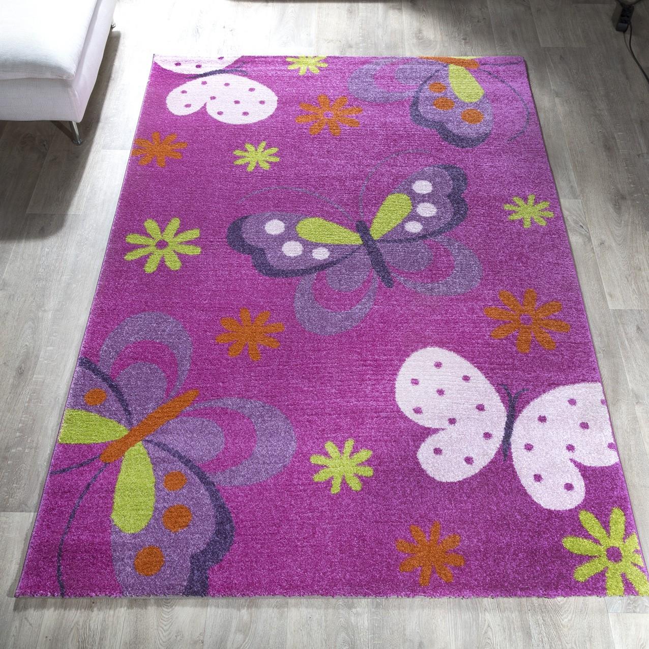 teppich kinderzimmer kinderteppich schmetterling muster pink lila ausverkauf kinderteppich. Black Bedroom Furniture Sets. Home Design Ideas