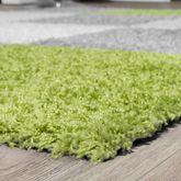 Moderner Hochflor Teppich Karo Muster Shaggy Zottel Teppiche Grau Weiß Grün – Bild 3