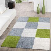 Moderner Hochflor Teppich Karo Muster Shaggy Zottel Teppiche Grau Weiß Grün – Bild 1