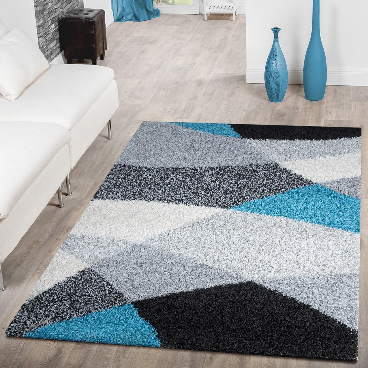moderner hochflor teppich shaggy vigo gemustert in schwarz grau wei t rkis top preis hochflor. Black Bedroom Furniture Sets. Home Design Ideas