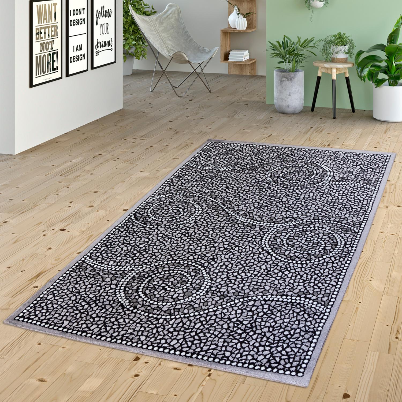 teppich wohnzimmer wirbel muster stein design abstrakt grau anthrazit meliert moderne teppiche. Black Bedroom Furniture Sets. Home Design Ideas