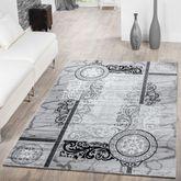 Teppich Modern Preiswert Ornamente Kreis Muster Meliert Wohnzimmerteppich Grau  – Bild 1