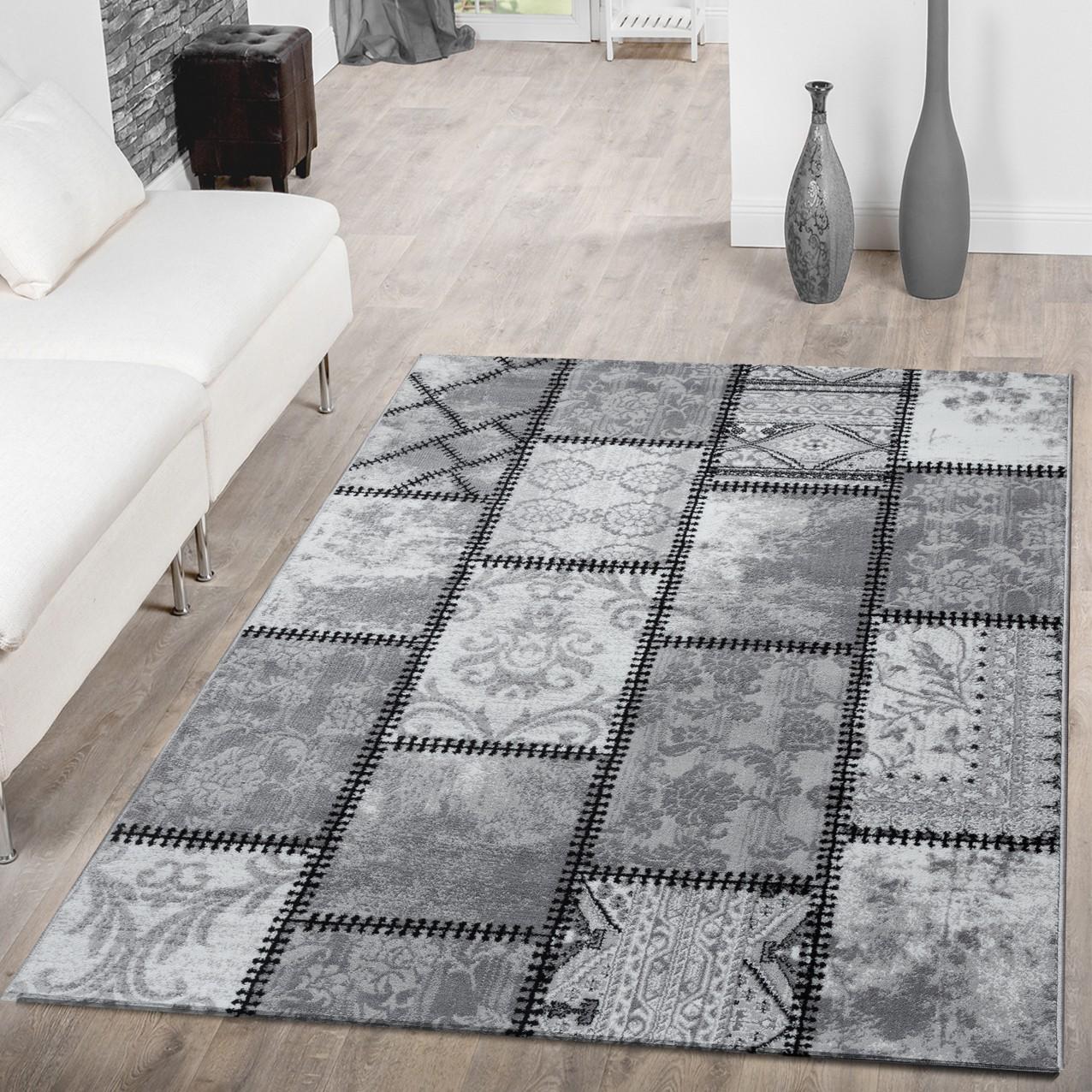 Teppich modern wohnzimmer teppich ornamente abstrakt - Teppich modern grau ...