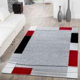 Teppich Günstig Bordüre Design Modern Wohnzimmerteppich Grau Schwarz Rot – Bild 1