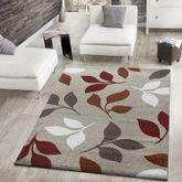 Moderner Webteppich Kurzflor Blätter Design Meliert Beige Terrakotta Rot Creme – Bild 1