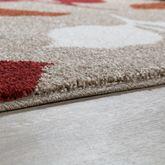 Moderner Webteppich Kurzflor Blätter Design Meliert Beige Terrakotta Rot Creme – Bild 3