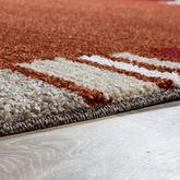 Moderner Webteppich Kurzflor Bordüre Schlichtes Design Grau Creme Rot Orange – Bild 3