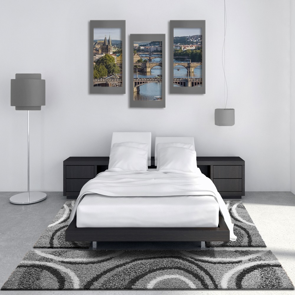bettumrandung hochflor teppich vigo gemustert grau schwarz 3er set hochflor teppich. Black Bedroom Furniture Sets. Home Design Ideas