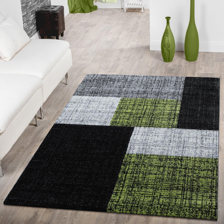 Teppich Wohnzimmer Modern Rechteckige Muster Grau Schwarz Grün 001