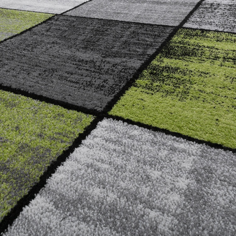 teppich wohnzimmer modern kariert meliert grau schwarz gr n moderne teppiche. Black Bedroom Furniture Sets. Home Design Ideas