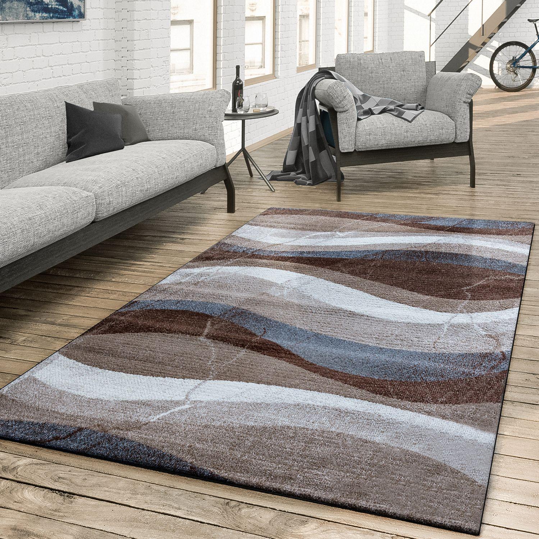 Charmant Teppich Gewellte Musterung Braun