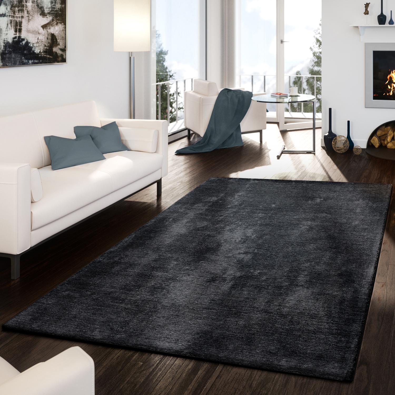 Teppich handgemacht modern edel hochwertig viskose - Anthrazit teppich ...